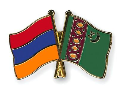 Crossed Flag Pins Armenia-Turkmenistan