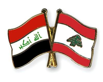Crossed Flag Pins Iraq-Lebanon