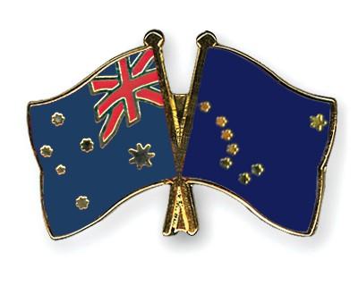 Crossed Flag Pins Australia-Alaska