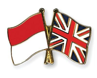 Crossed Flag Pins Indonesia-Great-Britain