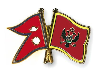 Crossed Flag Pins Nepal-Montenegro