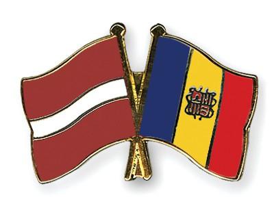 Crossed Flag Pins Latvia-Andorra