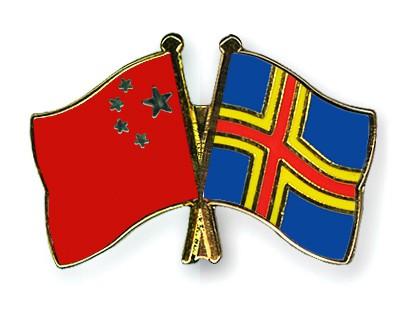 Crossed Flag Pins China-Aland