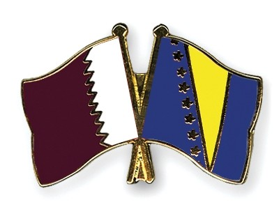 Special Offer Crossed Flag Pins Qatar-Bosnia and Herzegovina