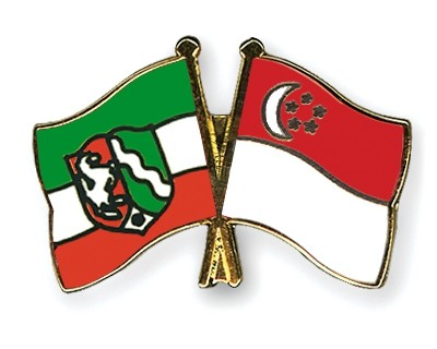 Special Offer Crossed Flag Pins North-Rhine-Westphalia-Singapore