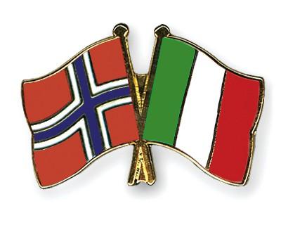Crossed Flag Pins Norway-Italy