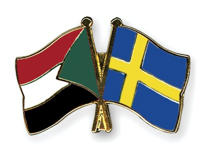 Crossed Flag Pins Sudan-Sweden