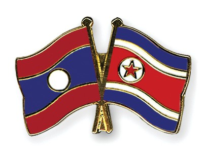 Crossed Flag Pins Laos-North-Korea
