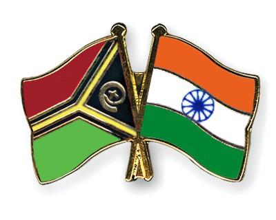 Crossed Flag Pins Vanuatu-India