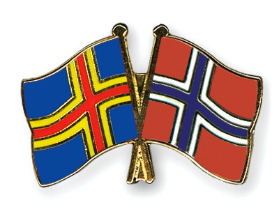 Crossed Flag Pins Aland-Norway