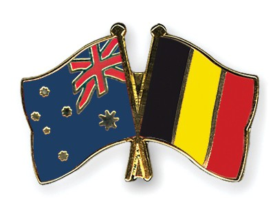 Special Offer Crossed Flag Pins Australia-Belgium
