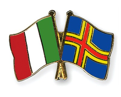 Crossed Flag Pins Italy-Aland