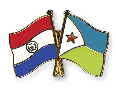 Crossed Flag Pins Paraguay-Djibouti