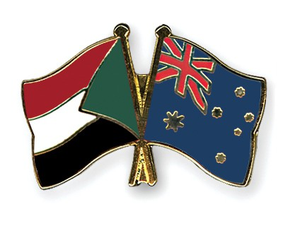 Crossed Flag Pins Sudan-Australia