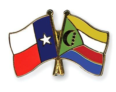 Crossed Flag Pins Texas-Comoros