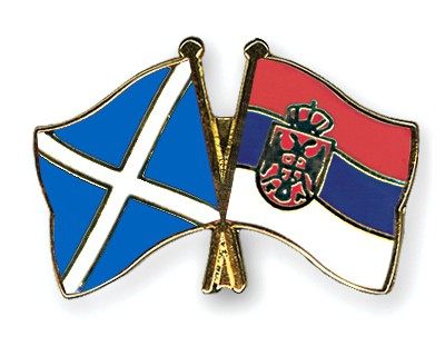 Crossed Flag Pins Scotland-Serbia-without-Crest