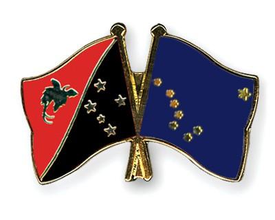 Crossed Flag Pins Papua-New-Guinea-Alaska