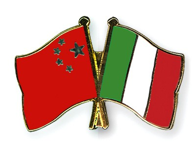 Crossed Flag Pins China-Italy