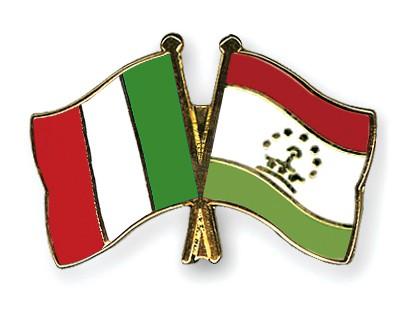 Crossed Flag Pins Italy-Tajikistan