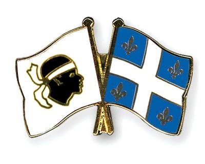 Crossed Flag Pins Corsica-Quebec