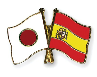 Crossed Flag Pins Japan-Spain