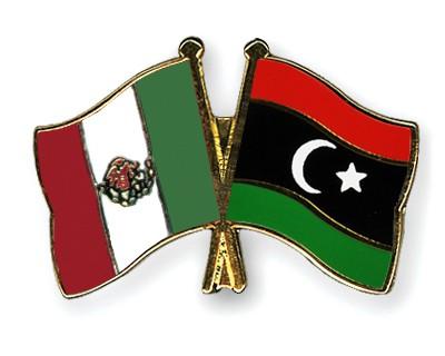 Crossed Flag Pins Mexico-Libya