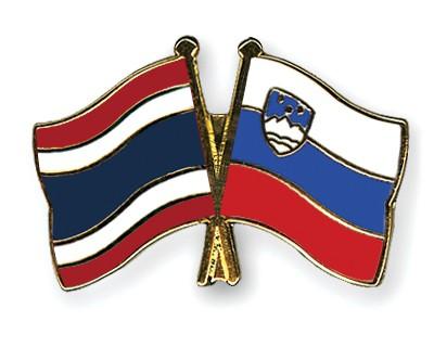 Crossed Flag Pins Thailand-Slovenia