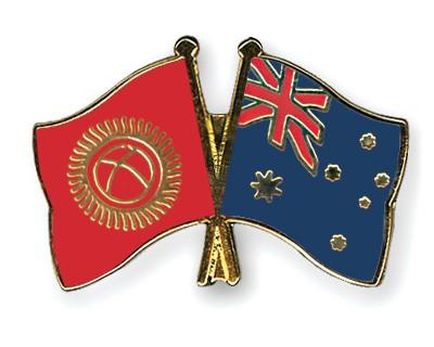 Crossed Flag Pins Kyrgyzstan-Australia