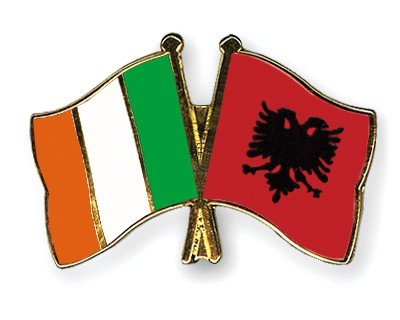 Crossed Flag Pins Ireland-Albania