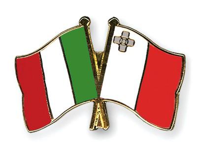 Crossed Flag Pins Italy-Malta