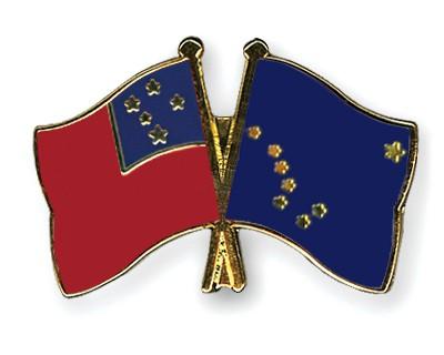 Crossed Flag Pins Samoa-Alaska