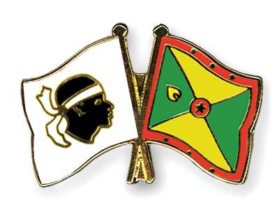 Crossed Flag Pins Corsica-Grenada