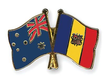 Crossed Flag Pins Australia-Andorra