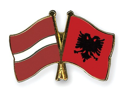Crossed Flag Pins Latvia-Albania