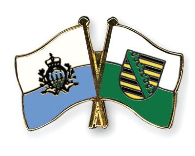 Crossed Flag Pins San-Marino-Saxony