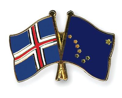 Crossed Flag Pins Iceland-Alaska