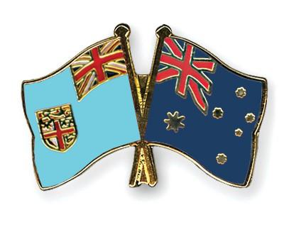 Crossed Flag Pins Fiji-Australia