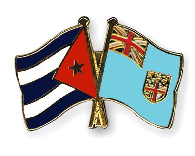 Crossed Flag Pins Cuba-Fiji
