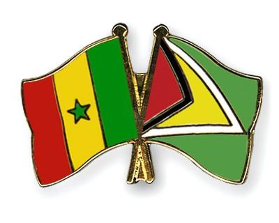 Crossed Flag Pins Senegal-Guyana