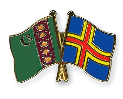 Crossed Flag Pins Turkmenistan-Aland