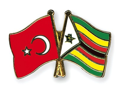 Crossed Flag Pins Turkey-Zimbabwe