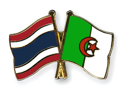 Crossed Flag Pins Thailand-Algeria