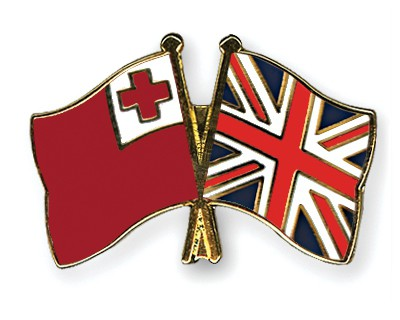 Crossed Flag Pins Tonga-Great-Britain
