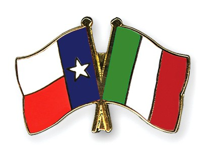 Crossed Flag Pins Texas-Italy