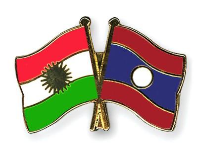 Crossed Flag Pins Kurdistan-Laos