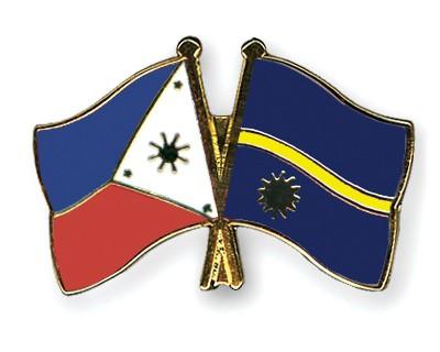 Crossed Flag Pins Philippines-Nauru