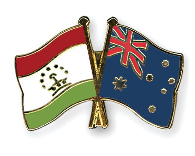 Crossed Flag Pins Tajikistan-Australia