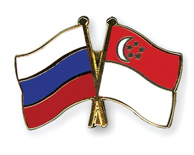 Special Offer Crossed Flag Pins Russia-Singapore