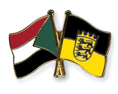 Crossed Flag Pins Sudan-Baden-Wuerttemberg