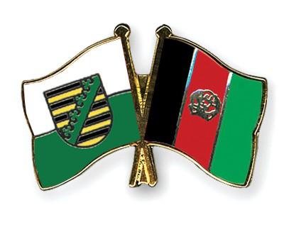 Crossed Flag Pins Saxony-Afghanistan